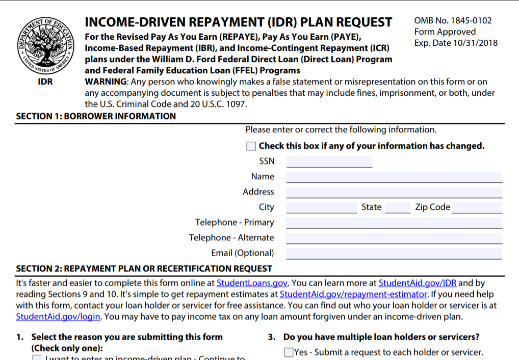 Income-Driven Repayment Plan Request